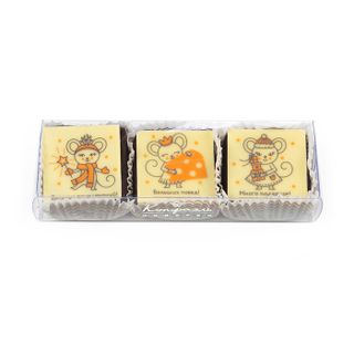 "A set of glazed bitter chocolate soufflé ""Three mice"" Konfael, 30 g"