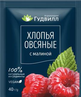 Oatmeal flakes with raspberries