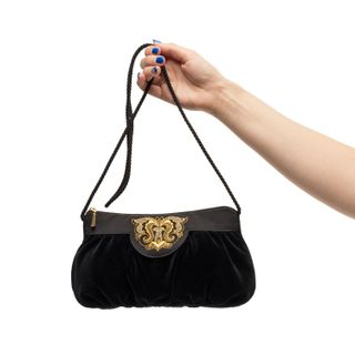 Velvet bag Fatiniya black with gold embroidery