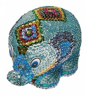 """Elephant"" set for creativity - a mosaic of sequins 3D"