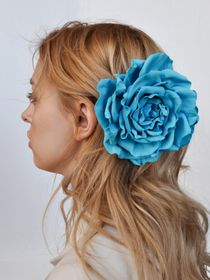 Hair clip brooch rose turquoise