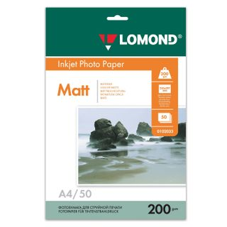 Photo paper for inkjet print, A4, 200 g/m2, 50 sheets, double sided, matte, LOMOND