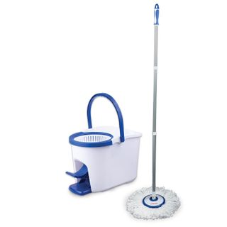 LIMA / Cleaning set, bucket 11 l / 5 l with wringer and pedal, mop with a round velcro attachment
