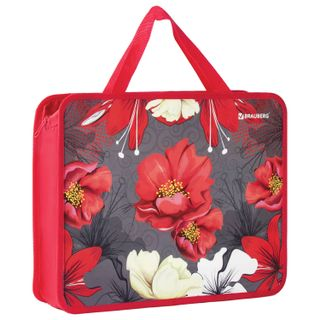 The zip folder with handles BRAUBERG, A4, 1 compartment, plastic, zipper top, 75 mm, Flowers