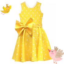 Yellow dress with a bow.