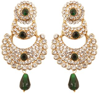 Touchstone Indian Bollywood White Crystals And Green Faux Emerald Chaand Bali Moon Designer Jewelry Chandelier Earrings In Antique Gold Tone For Women