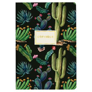 "Notebook EURO A5 40 sheets BRUNO VISCONTI stitching, cage, Soft Touch, beige paper 70 g / m2, ""NIGHT CACTUSES"""
