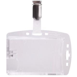 DURABLE / Badge holder, double, hard plastic, clip, transparent, SET 25 pcs.