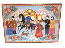 """Gorodets painting / Box for documents """"Vanya rode on a horse"""""""