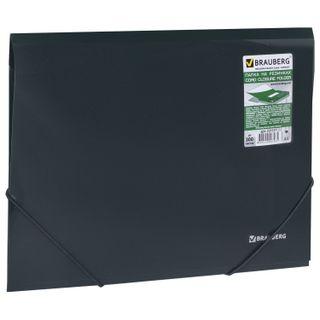 Folder on elastics BRAUBERG, diagonal, dark green, up to 300 sheets, 0.5 mm