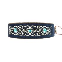 Bracelet 'Scent of roses' blue with gold embroidery