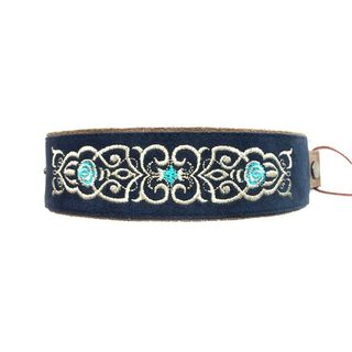 """Bracelet """"Scent of roses"""" blue with gold embroidery"""