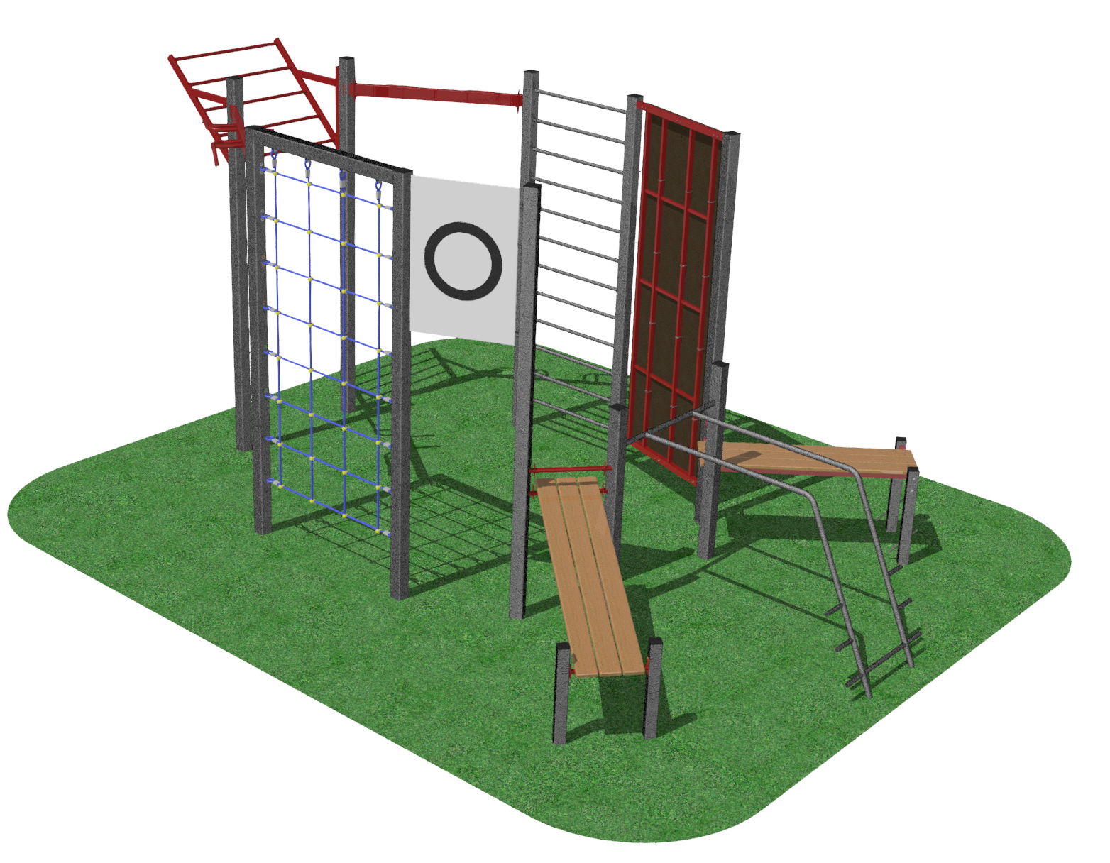 MB Barbell / Outdoor sports complex (parallel bars, wall bars, horizontal bar, ascending wing, stones for pulling up, target, climbing net, bench for the press)