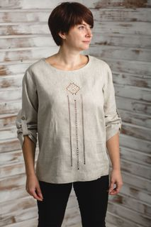 Blouse Karina embroidered on the chest