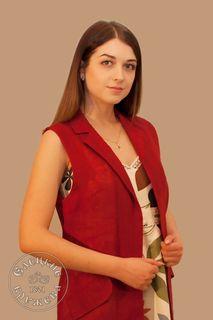 Vest womens linen red С11701