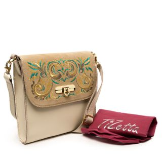 "Leather bag ""Isabel"" beige with gold embroidery"