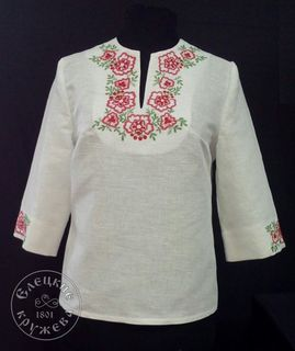 Womens linen tunic with embroidery