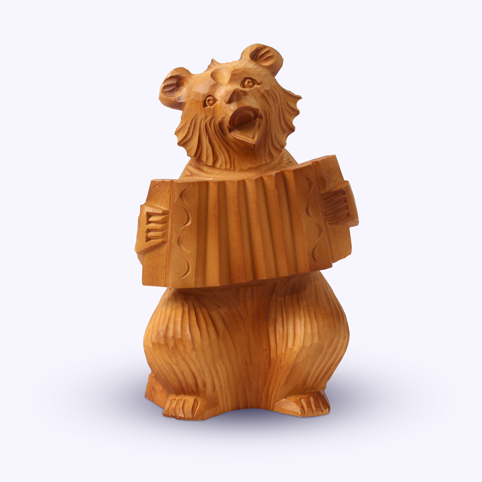"Bogorodskaya toy / Wooden souvenir ""Bear with an accordion"""