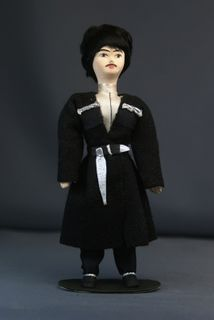 Doll gift porcelain. Kabardian traditional men's suit. The beginning of the 19th century.