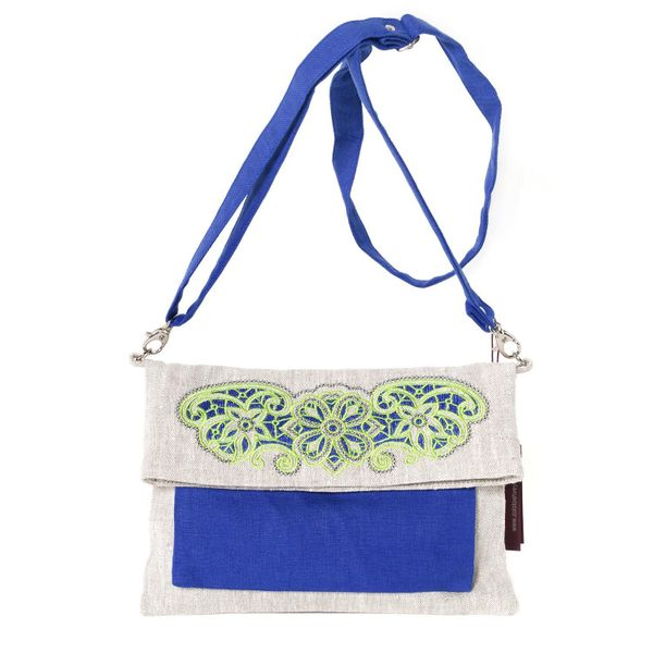 Linen bag 'Milada' blue with silk embroidery