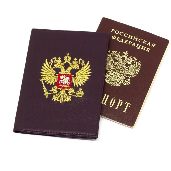 Passport cover 'eagle' in purple color with Golden embroidery