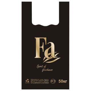 "JUPLAST / Bags ""undershirt"", SET 100 pcs., 30 + 16x55 cm, HDPE, ""FA"", BLACK, 25 microns"