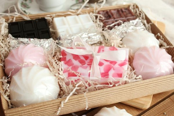 A large set of soap sweets Marshmallows and chocolate