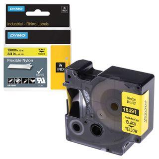 DYMO Rhino label printer cartridge, 19 mm x 3.5 m, nylon ribbon, black font, uneven surface, yellow