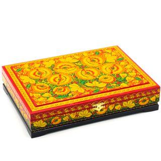 """Box """"Hohloma painting"""" wood documents"""