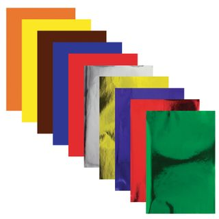 Coloured paper, A4, coated, self-ADHESIVE, 10 sheets 5 colors + 5 mirror, 80 g/m2, INLANDIA, 210x297 mm