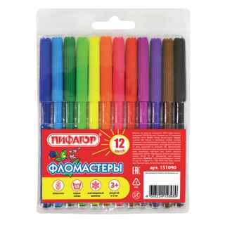 PYTHAGORAS markers, 12 colors, ventilated cap