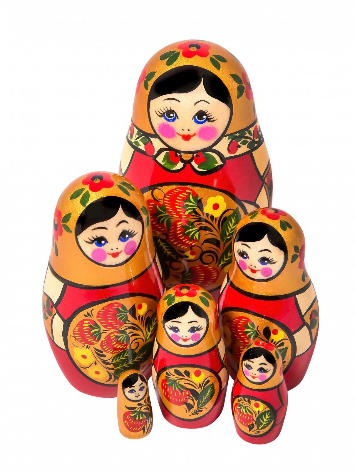 Khokhloma painting / Matryoshka Khokhloma 6 dolls