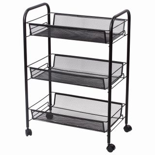 BRABIX / Office-household shelf (trolley) 3 tiers, on wheels, metal, black, 43.5х26х62.5 cm