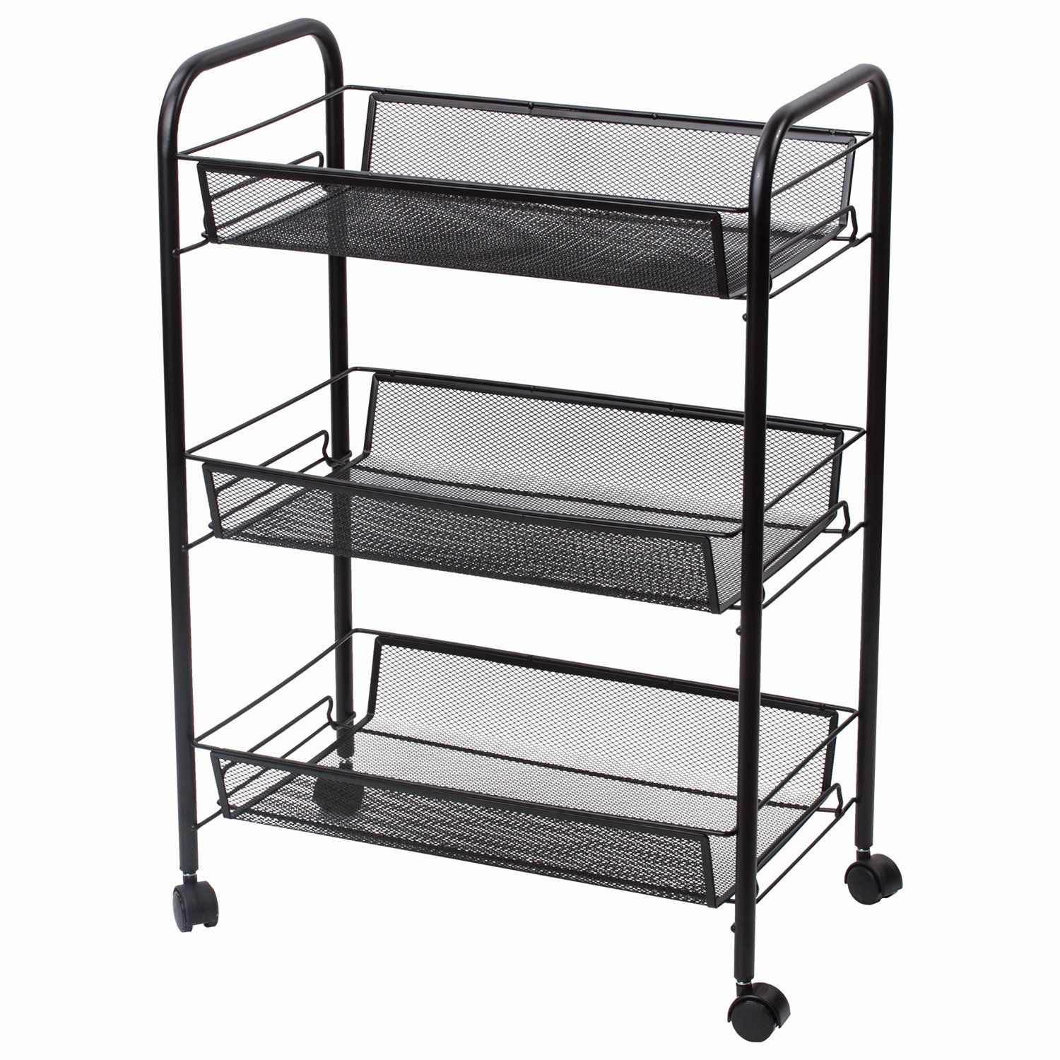 BRABIX / Office-household shelf (trolley) 3 tiers, on wheels, metal, black, 43.5х26х62.5 cm