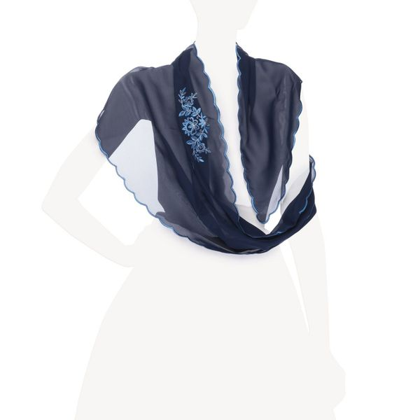Scarf 'Golden holiday' blue with silk embroidery