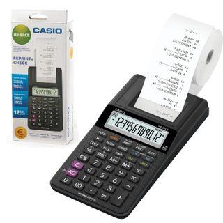 Printing calculator CASIO HR-8RCE-BK-W-EC (239х102х82 mm), 12 digits, 4хАА batteries / adapter (250402)