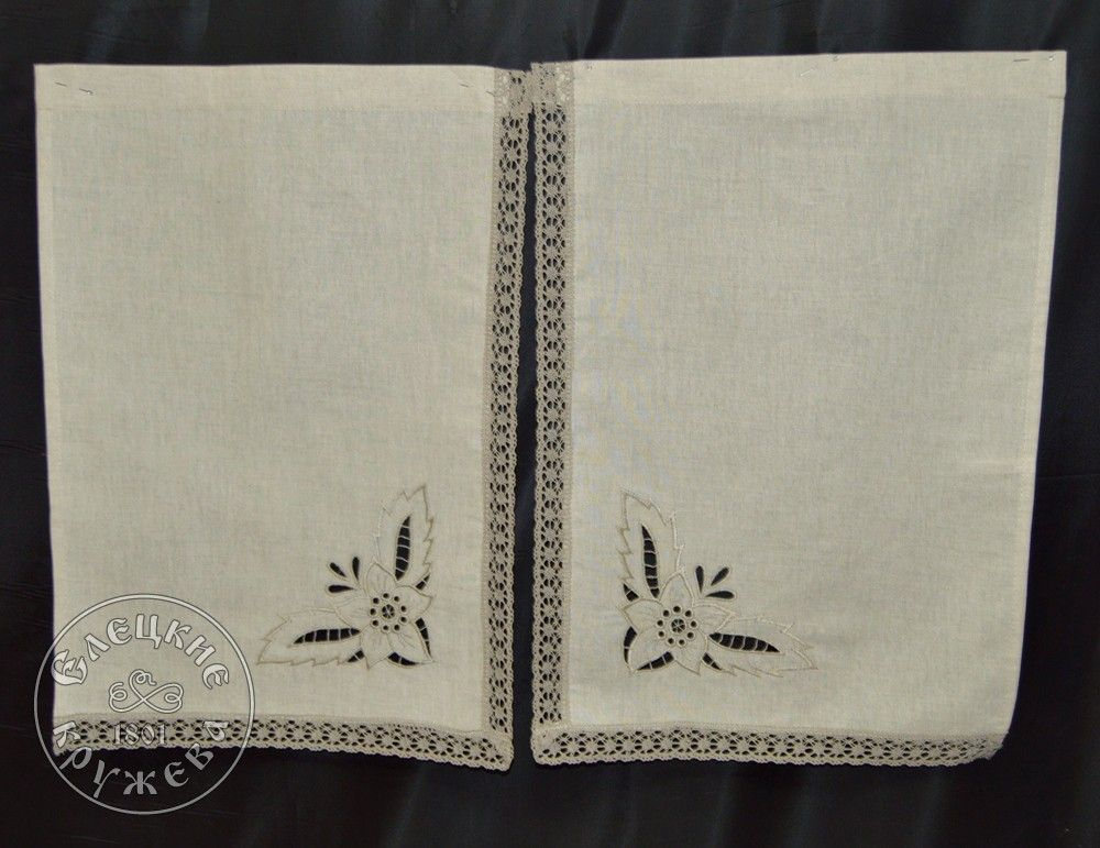 Yelets lace / Set of linen curtains С2241