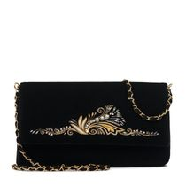 Velvet clutch 'Sounds of violin' in black with gold embroidery