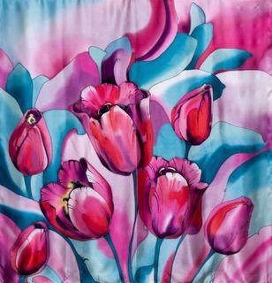 "Silk scarf ""Tulips"""