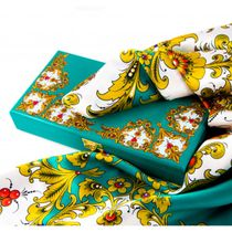 """Khokhloma painting / Silk scarf in a gift box """"Winter's Tale"""""""