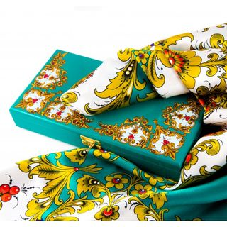 "Natural silk scarf in a gift box ""Winter's Tale"""