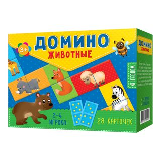 Themed DOMINO. ANIMALS - educational board game for children 3-5 years old