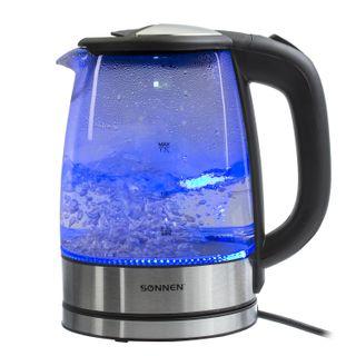 KETTLE SONNEN KT-1788, 1.7 litres, 2200 w, closed heating element, glass, black, lighting
