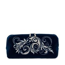 Velveteen zippered pouch with embroidery 'November', Torzhokskiy seamstresses, blue