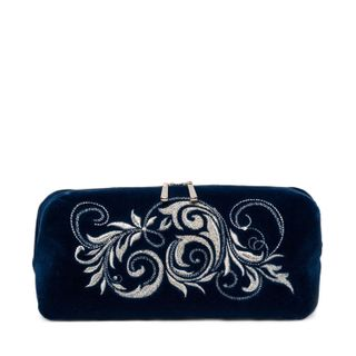 Velveteen zippered pouch with embroidery