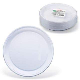 "LIMA / Disposable flat plates, SET 100 pcs., Plastic, d = 220 mm, ""STANDARD"", white, PP, cold / hot"