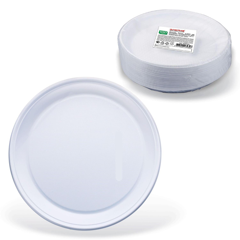 """LIMA / Disposable flat plates, SET 100 pcs., Plastic, d = 220 mm, """"STANDARD"""", white, PP, cold / hot"""