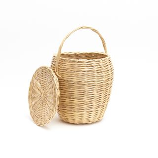Vegetable basket round tall with lid