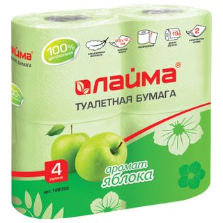 LIME / Toilet paper for household use, soldering 4 pcs., 2-layer (4x19 m), apple aroma