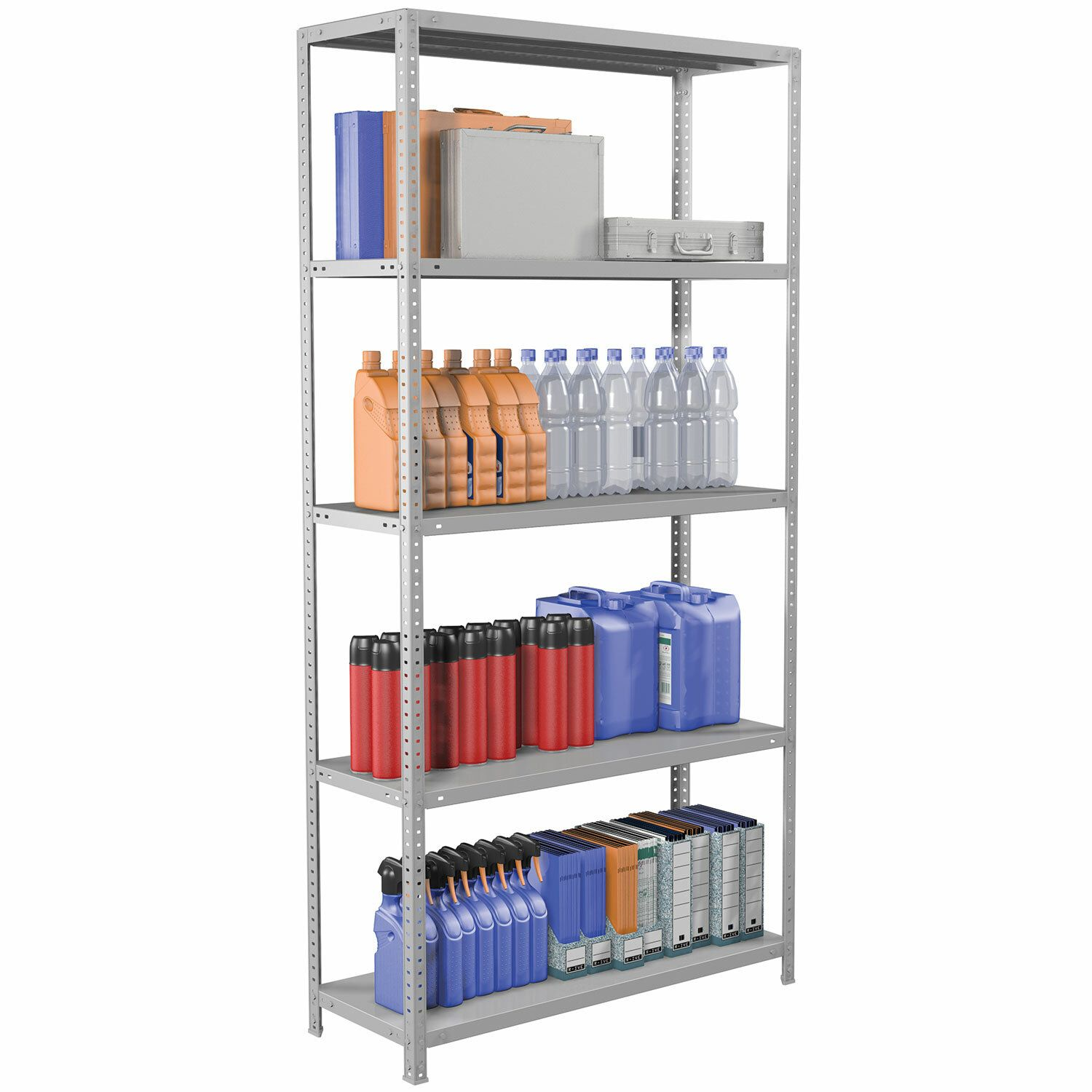 "Metal BRABIX ""MS Plus-200/30-5"" (in 2000-s1000/g300mm), 5 shelves, adjustable supports"